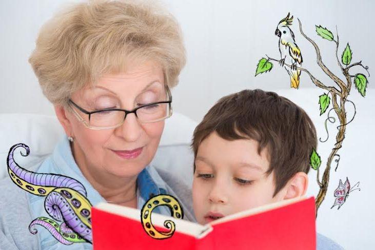 няня занята чтением с ребёнком