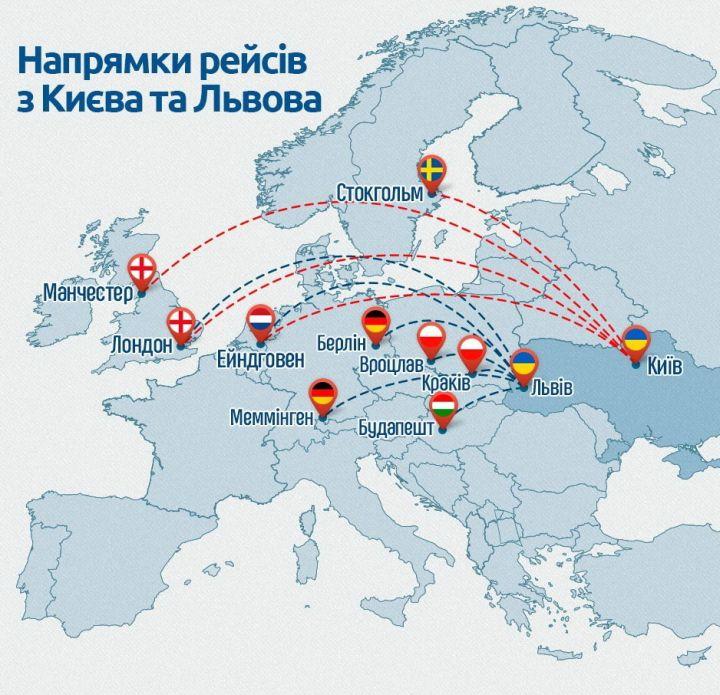 направления рейсов Ryanair